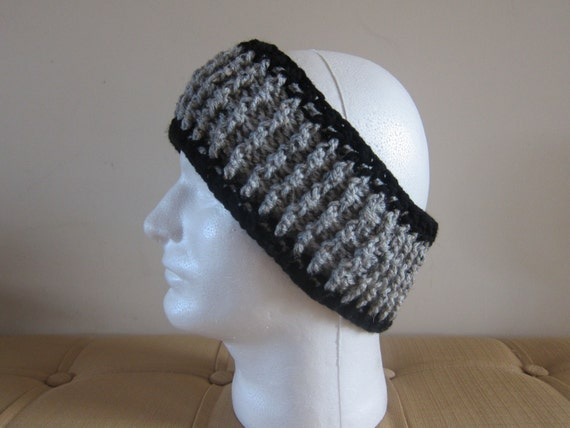 Free Crochet Patterns For Men s Ear Warmers : Mens Headband Crocheted Headband Grey Mens Ear Warmer Ear