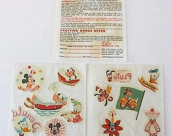 Vintage 1960s DISNEY Transfers - JIFFY POP Tattoos Giveaways Premiums