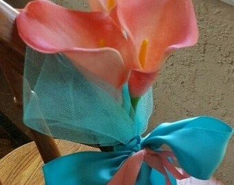 CORAL TRUE TOUCH Calla Lily with Turquoise Pew Bows, Set of Four, Bridal Decorations, Chair decor,Wedding Supplies, Ceremony Reception Decor