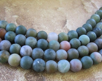 Large Hole Bead Green Fancy Jasper 10 mm Round Matt Finish 10 Beads Fit Leather