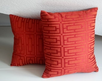 Orange red geometric pillow, elegant pillow cover, 16x16 inches, decorative pillows