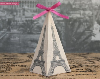 Eiffel Tower Favor Box Printable - Pyramid Box - DIY - Paris Party