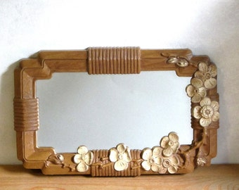 Homco Flowering Dogwood Mirror Faux Wood Powder Room Accent Dresser Tray