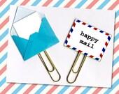 Happy Mail Planner Clip - Snail Mail Envelope Paperclip -  Snail Mail Planner Clip - Pocket Letter Clip - Tiny Envelope