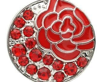 1 PC 18MM Red Enamel Flower Rhinestone Silver Candy Snap Charm kb7133 CC1733
