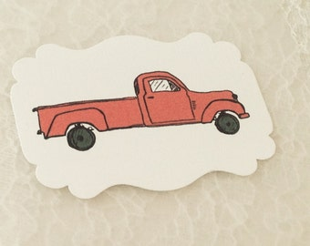 Truck Stickers-Boy Birthday Party Stickers-Red truck car stickers-Set of 12
