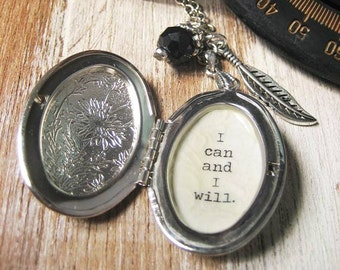 i can and I will Positive statement jewelry quote locket pendant charm necklace for women with inspirational  motivational message do it