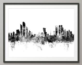 Abu Dhabi Skyline, Abu Dhabi UAE Cityscape Art Print (2353)