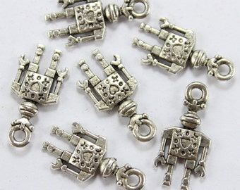 Robot Charms Double Sided Antique Silver  - ts886