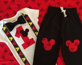 READY TO SHIP! Mickey Mouse First Birthday Bodysuit Black Bowtie Matching Pants, Boy Cake Smash Outfit, Baby Boy First Birthday
