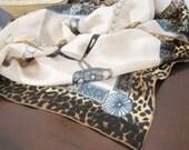Leopard Print Aqua Scarf - 38 inch square - Shawl - Vintage Scarf