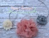 75% Off Headband Set of 3 Headbands Mauve Pink Lace, Mini ivory and grey/ Baby Hair/ Wedding/ Photo Prop