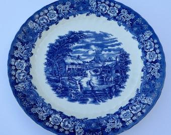British Anchor Ironstone Memory Lane Blue & White Charger Flow Blue Plate Vintage Home Decor Vintage Platter Vintage Serving