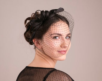 Black fascinator with feathers  and veil, feather headpiece, black birdcage with fascinator