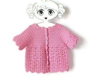 Toddler Pink Crochet Shrug, Girl Cotton Cardigan, Short Sleeved Lace Sweater, Ready To Ship