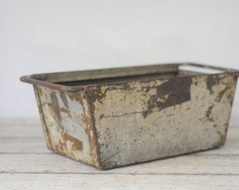 Vintage Metal Bin Vintage Metal Box Industrial Metal Decor Metal Basket Storage