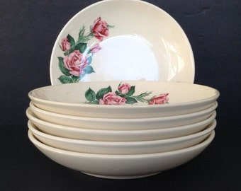 6 - Ballerina Salad Bowls by Universal Potteries Pink/Red Rose Bud Union Made in USA Oven-Proof
