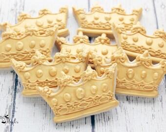 Gold Baby Shower Crown Cookies, Royal Crown, Prince Cookies, Princess Cookies, 1st Birthday,  Gold Cookies, Royalty,  Baby Shower Favors