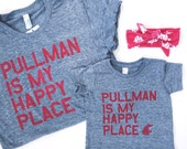 "WOMENS WSU COUGARS ""Pullman is my Happy Place"" T-Shirt"