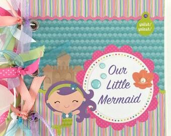 "Premade Mermaid Scrapbook Mini Album Album 6x6"" Little Mermaid Baby Girl Toddler"