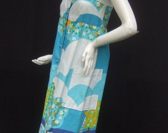 1970s Mod Summer Cotton Print Sun Dress