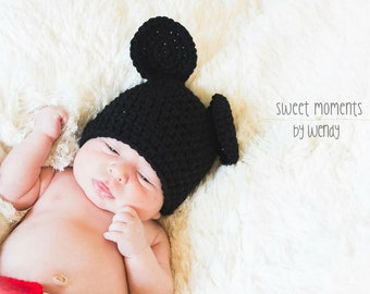 Crocheted Mouse Hat / Photo Prop - Boys or Girls - Multiple Sizes Available