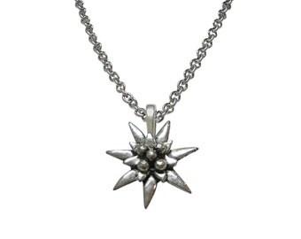 Edelweiss Flower Pendant Necklace