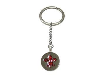 Red and Silver Fleur de Lys Pendant Keychain