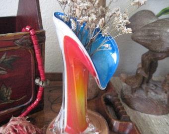 Vintage Multi Colored Blown Glass Bud Vase