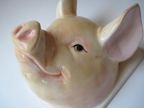 Vintage Ceramic Pig Kitchen Wall Decor Hook