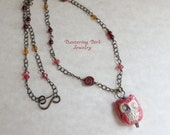 Owl Necklace, Red Beaded Necklace, Brass Chain Layered Necklace, Spirited Earth Ceramic Owl Pendant, Casual Necklace, Glass Bead Necklace