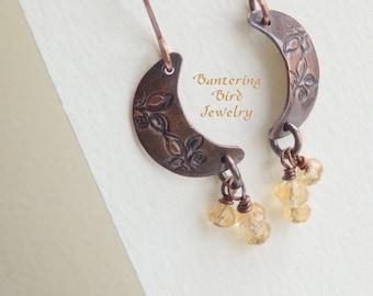 Crescent Moon Earrings, Citrine Earrings, Copper Earrings, Golden Gemstone Dangle Earrings, Hammered Copper Jewelry, Boho Jewelry