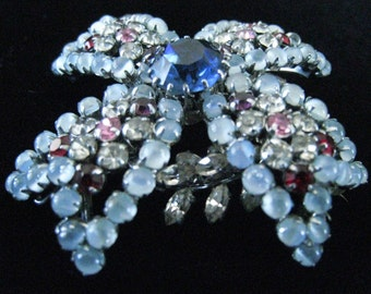 """Large Austrian Maltese Cross Vintage Brooch in 3 Layers of Rhinestones.  Fabulous Colors and Designing.  2-1/4"""" Square.  Signed."""