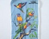 Vintage Linen Dish Hand Towel Rainbow Lorikeets Australia