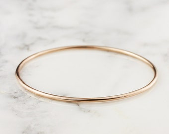 2mm 14k Gold Bangle - Simple Rose Gold Bracelet - Handmade Stacking Bangle Bracelet - Rose Yellow White