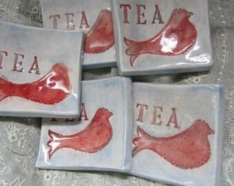 Set of Five Red Bird Ceramic Tea Bag Holders Tea Lights Ring Holders Home Decor