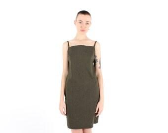 90s Minimal Simple Square Neckline Linen Look Structured Slip Dress