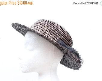 10,000 LIKES 7 Day Sale 80s Black Straw Flat Brim Boater Hat