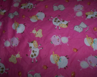Animal Flannel Fabric,Pink Flannel,Adorable Cows,Pigs,Cats,Sheep, 1 yard