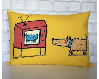 "Handmade Bolster Cushion Cover Vintage 70s Dog & Cat Fabric 14"" x 20"""