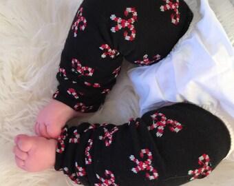 Candy Cane Baby Legs / Christmas Leg Warmers Black