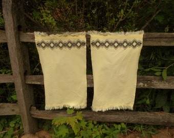 Dish Towels, 2,  Black Embroidery, Yellow Cotton, Swedish Embroidery, Huck Cloth, Fringed Edges, Vintage Kitchen, Tea Towels