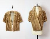 vintage 50s mink fur stole / 1950s brown mink fur wrap / mink fur capelet / genuine fur wrap / collared fur stole