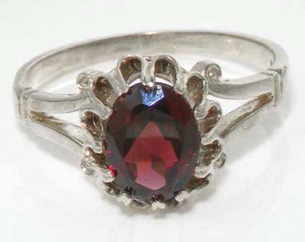 925 Sterling Silver Natural Red Garnet Solitaire Ring, Unique Claws Prong Setting Ring, English Single Stone Ring - Customizable