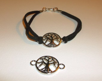 Silver tree of life suede bracelet, pick your color