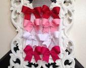 Valentine Bows Boutique Baby Infant Toddler Hairbow Pigtail set Piggies colors starter set alligator hair clips