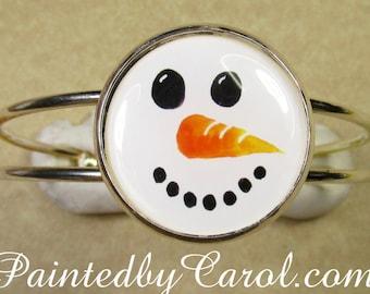 Snowman Bracelet, Snowman Jewelry, Snowman Cuff, Snowman Gifts, Jewelry with Snowman, Christmas Jewelry, Christmas Bracelet, Christmas Gift