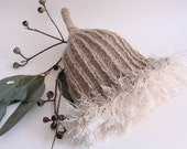 3 Adult Gumnut hats- natural homespun wool with earthy green/brown fuzz