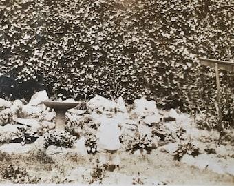 Original Vintage Photograph Little Girl in Garden