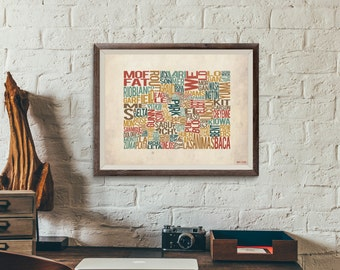 Colorado by County - Typography Print